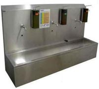 Умывальники, мытья рук, предприятиях пищевой промышленности, запрещается ручное включение воды, Корытные умывальники, Панели чистоты